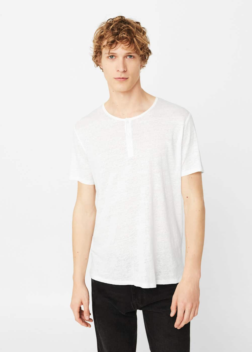 Flecked linen-blend t-shirt | MANGO MAN