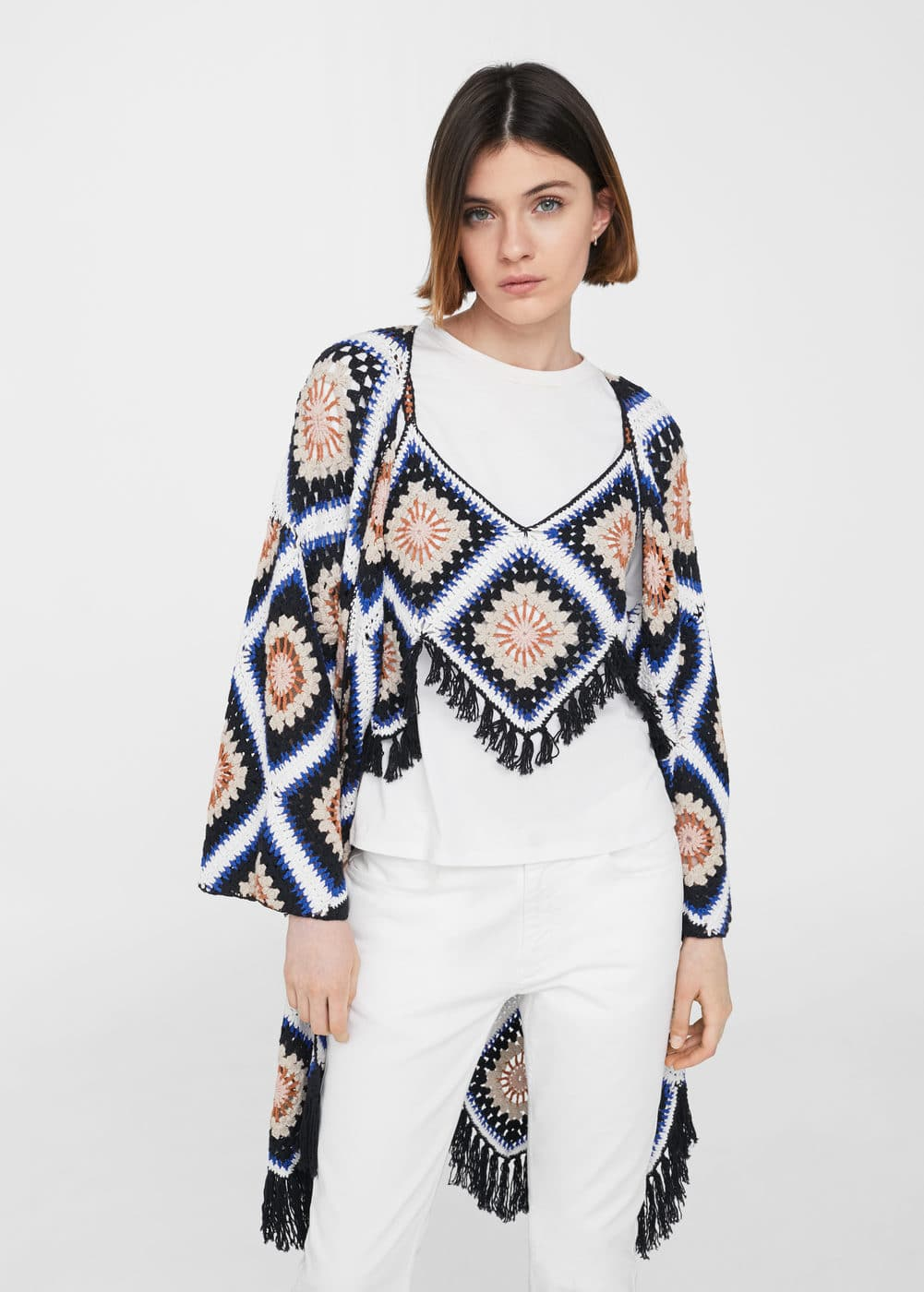 Cotton crochet cardigan | MANGO