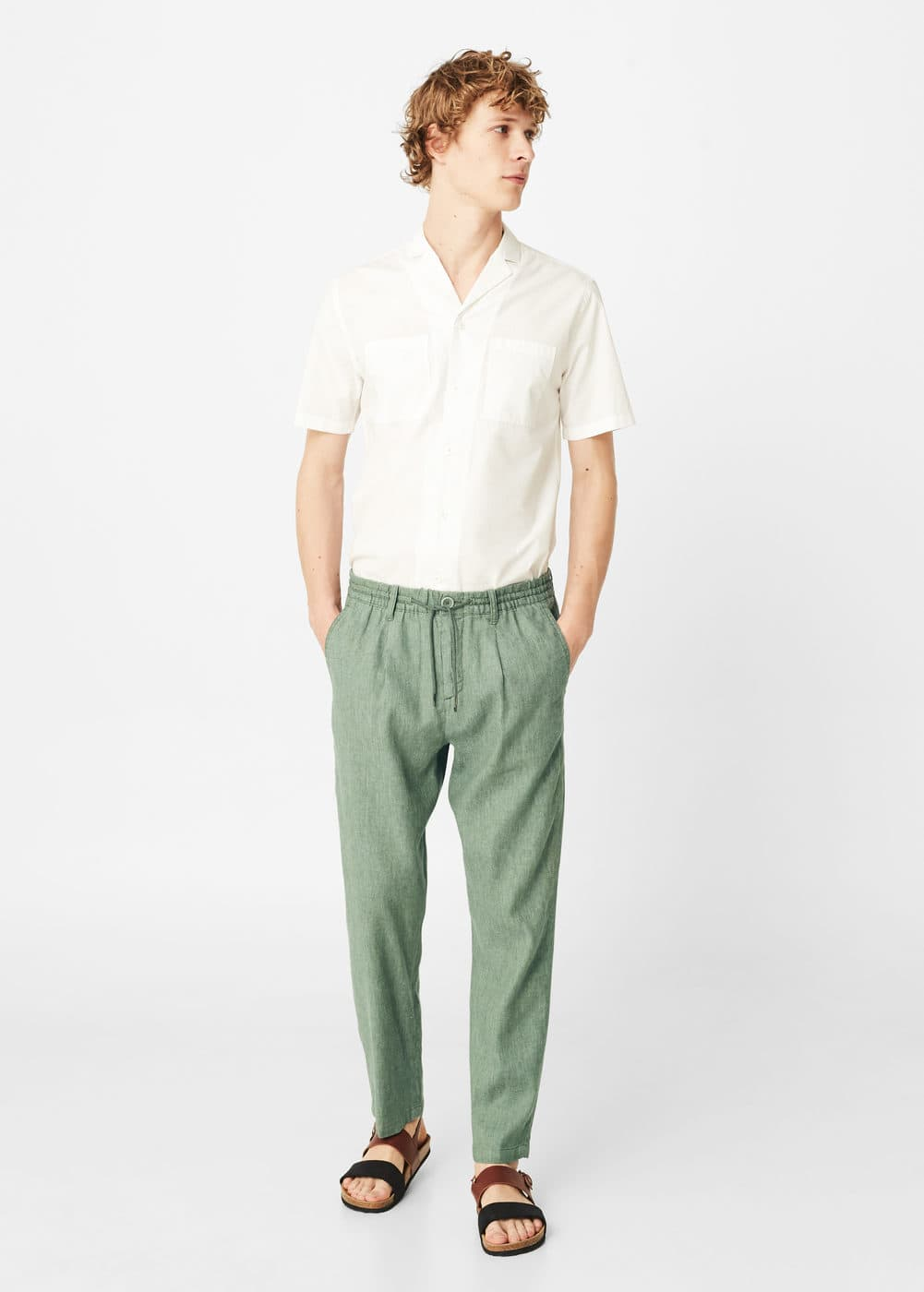 Linen-blend jogging trousers | MANGO MAN