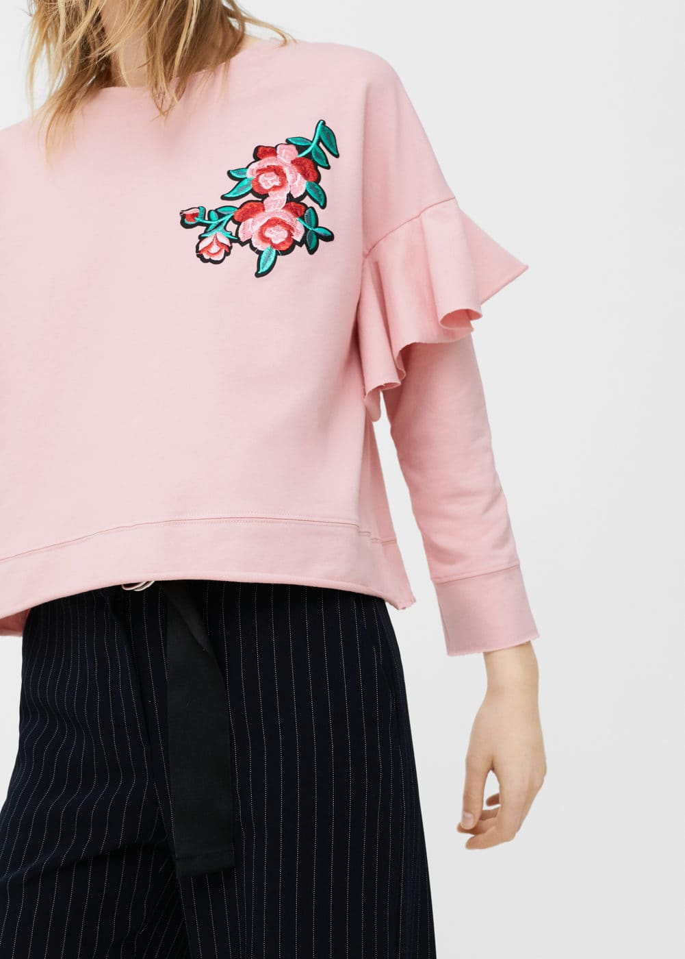 Ruffled embroidered sweatshirt | MANGO