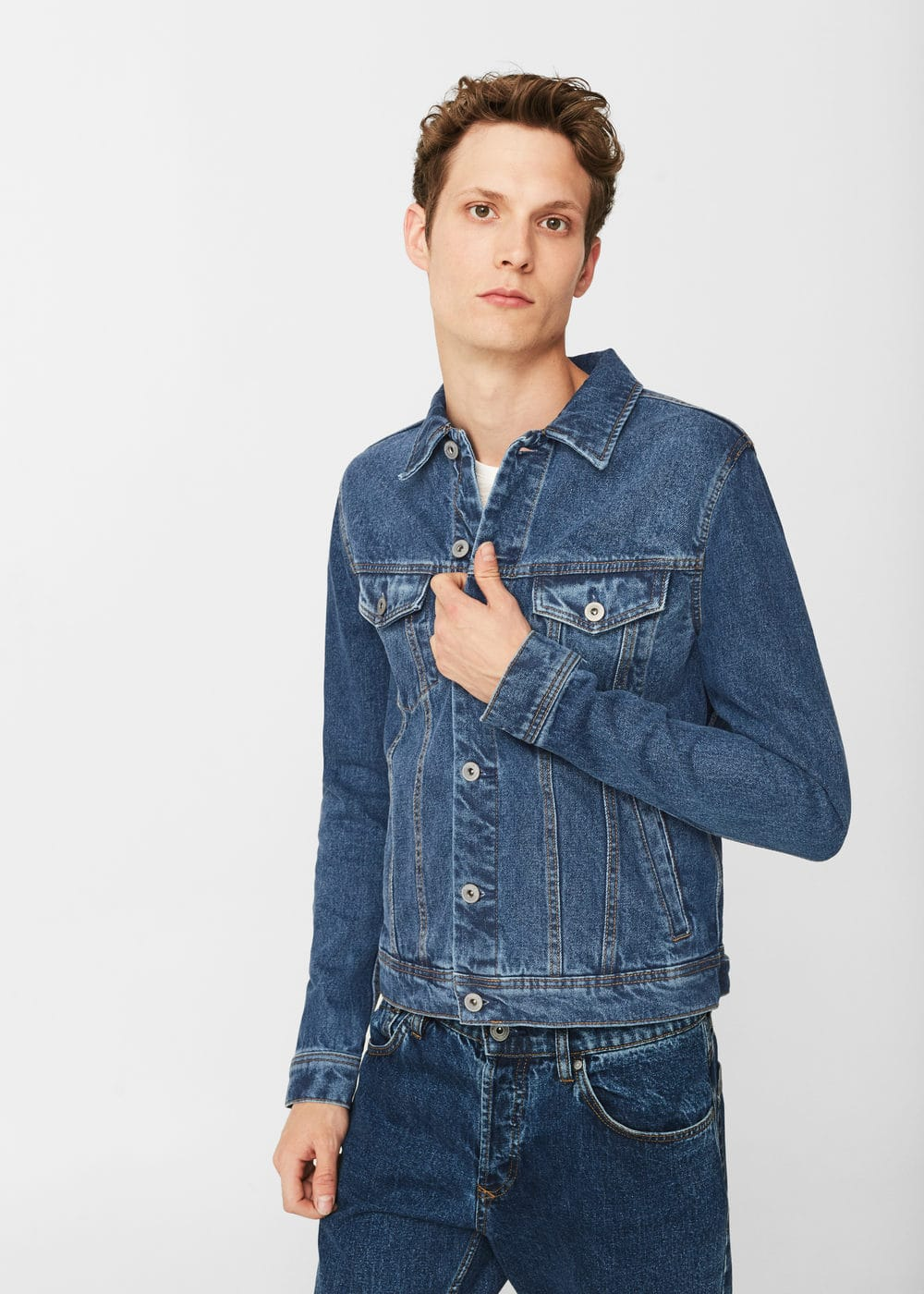 Back patche dark denim jacket | MANGO MAN