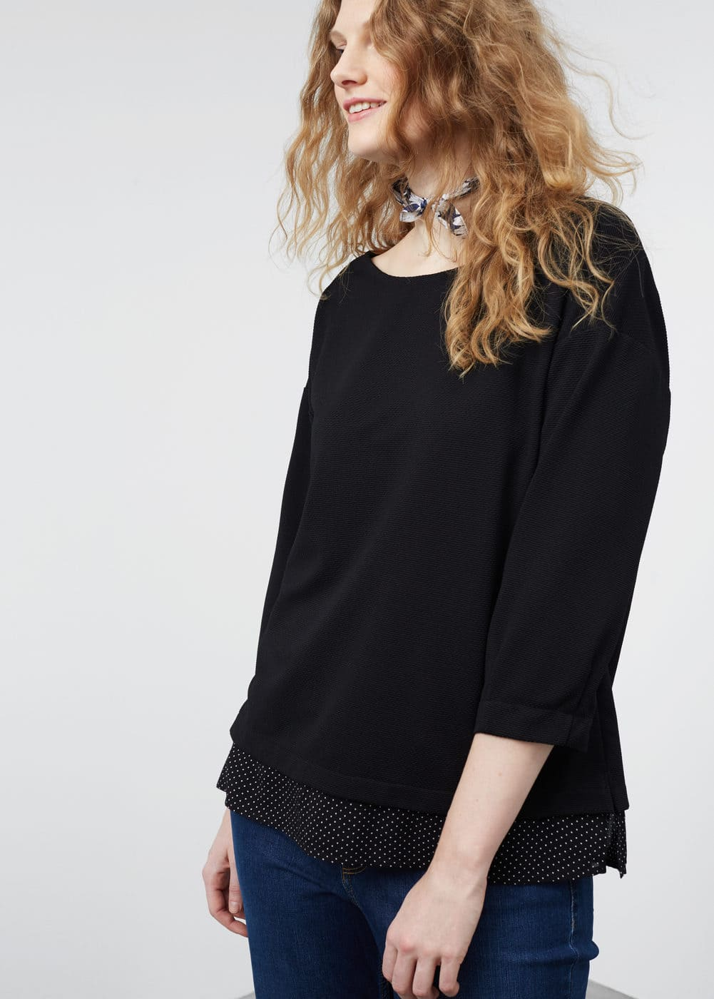 Shirt hem sweatshirt | VIOLETA BY MNG