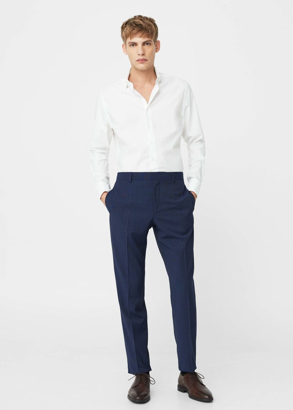 Modern slim-fit patterned suit trousers | MANGO MAN