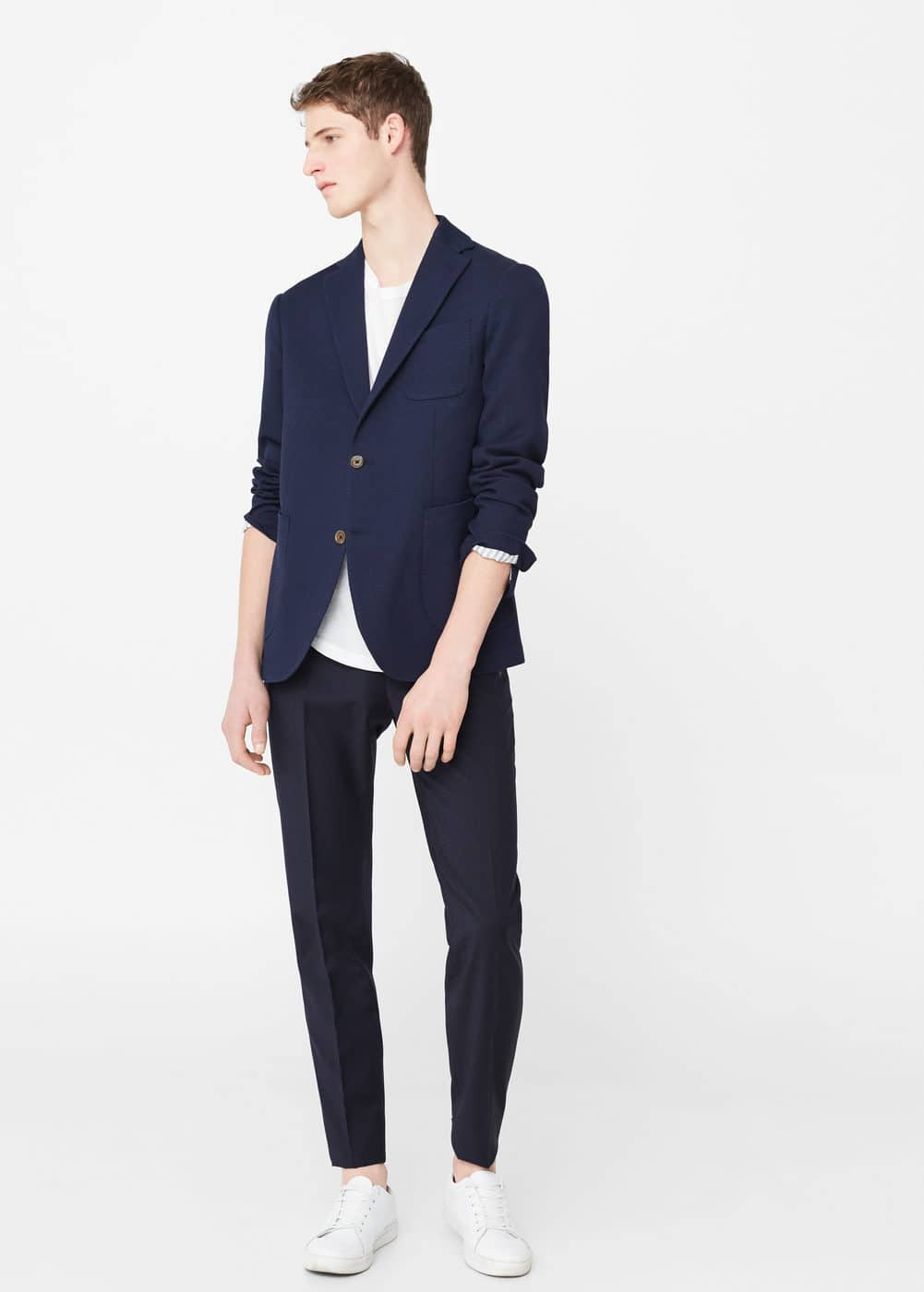 Slim-fit cotton wool-blend blazer | MANGO MAN