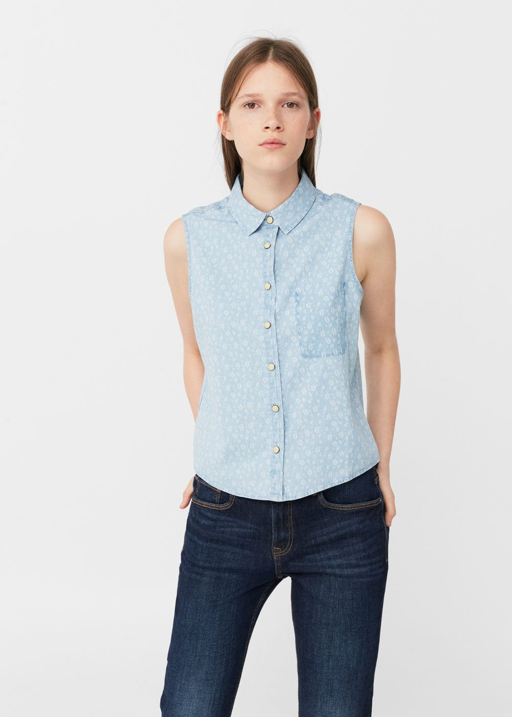 Printed denim shirt | MANGO