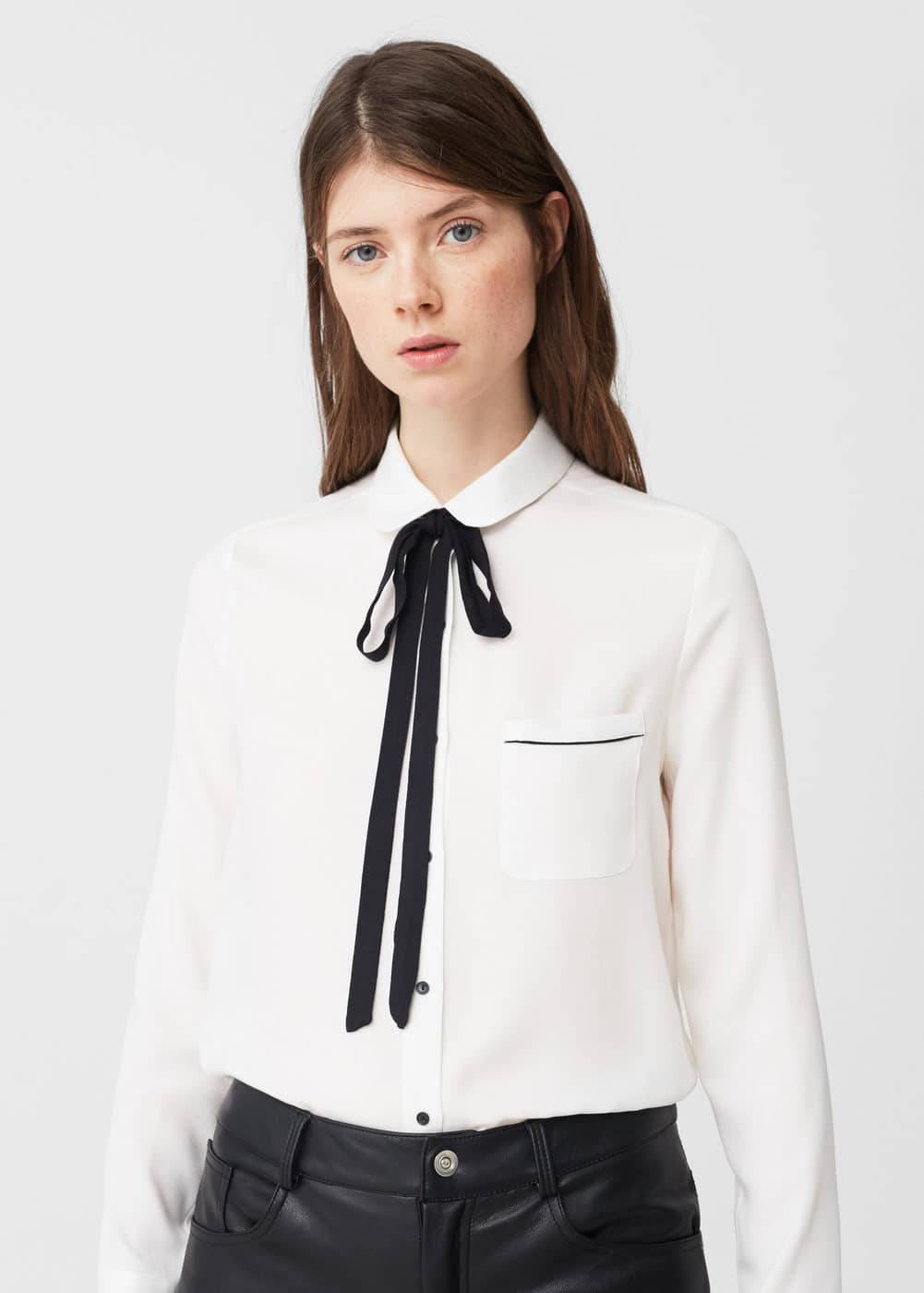 Bow neck shirt | MANGO