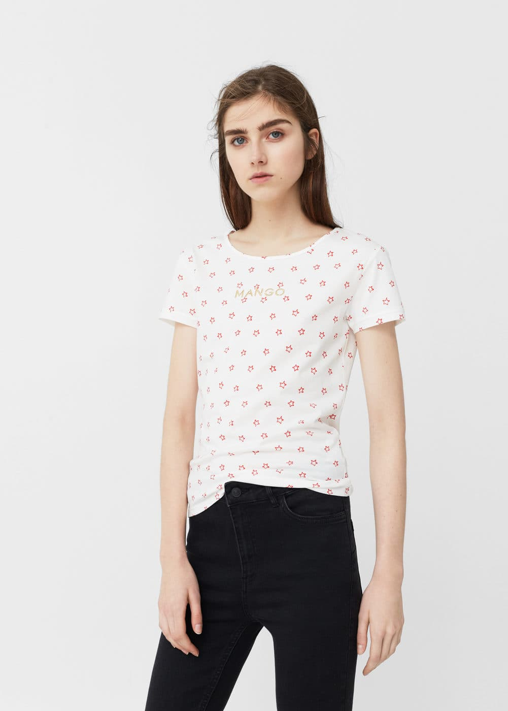 Embroidered logo t-shirt | MANGO