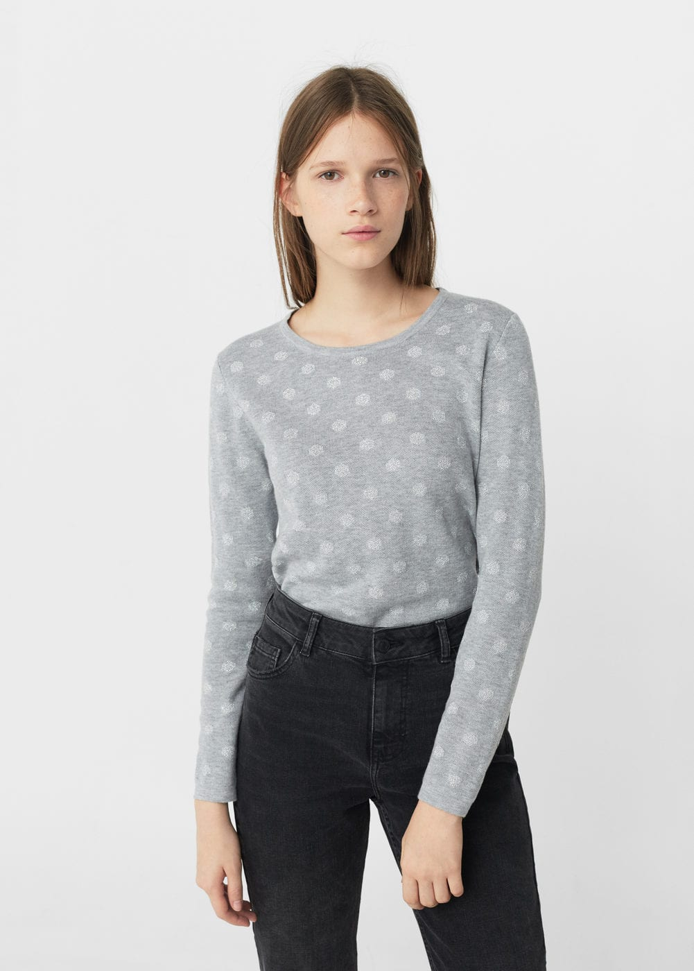 Polka-dot cotton-blend sweater | MANGO