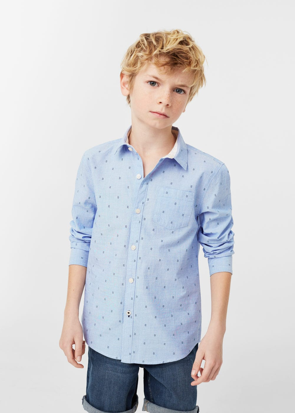 Printed cotton shirt | MANGO KIDS