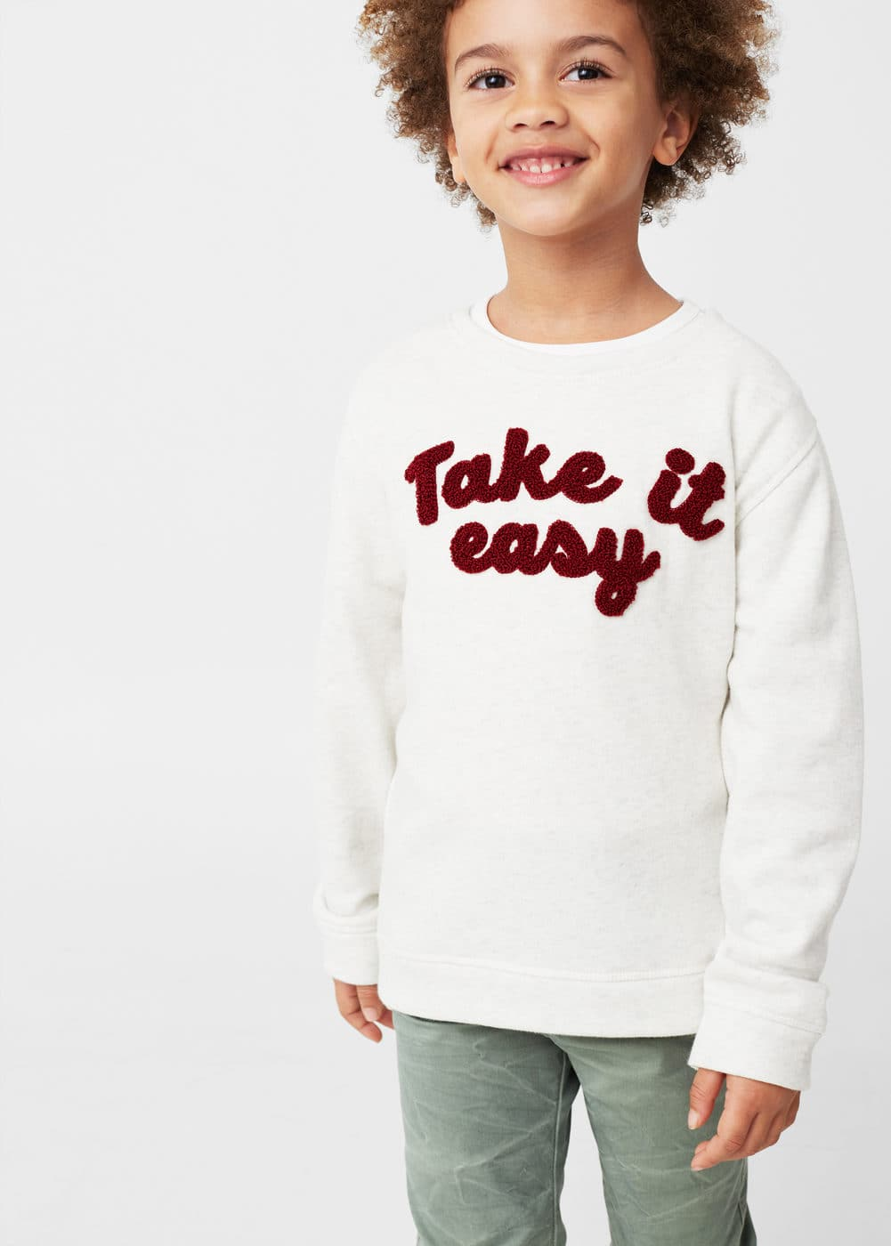 Printed plush cotton sweatshirt | MANGO