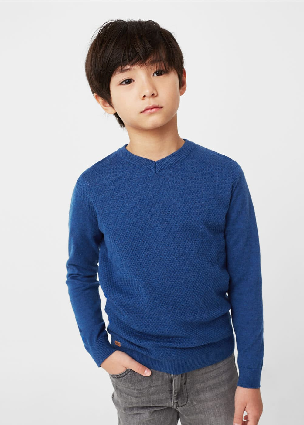 Textured cotton sweater | MANGO KIDS