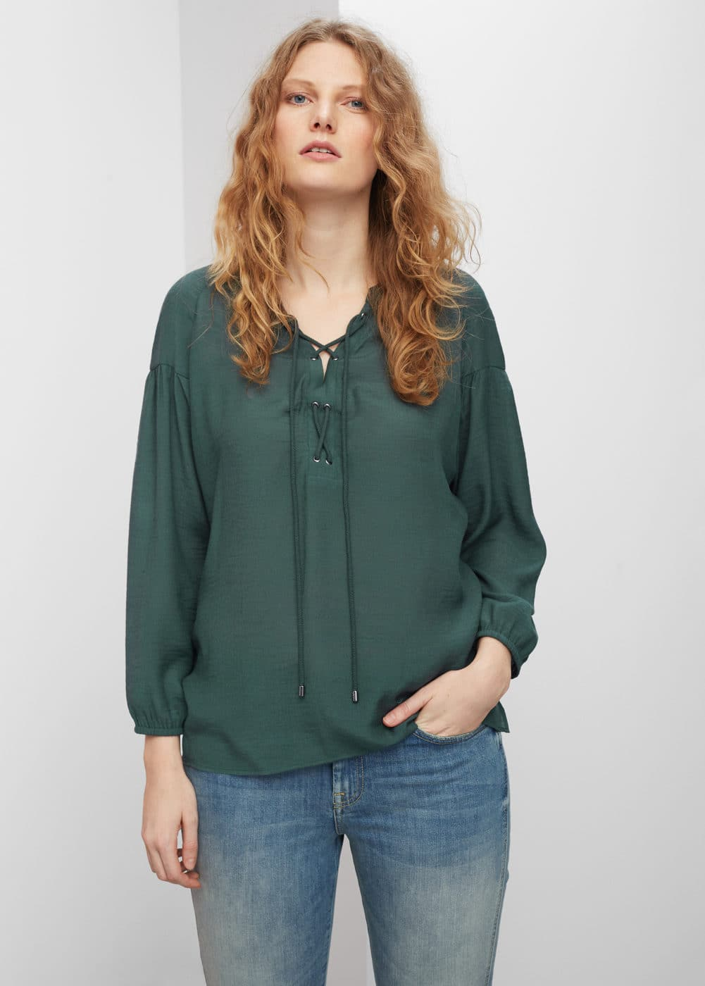 Drawstring neck blouse | MANGO