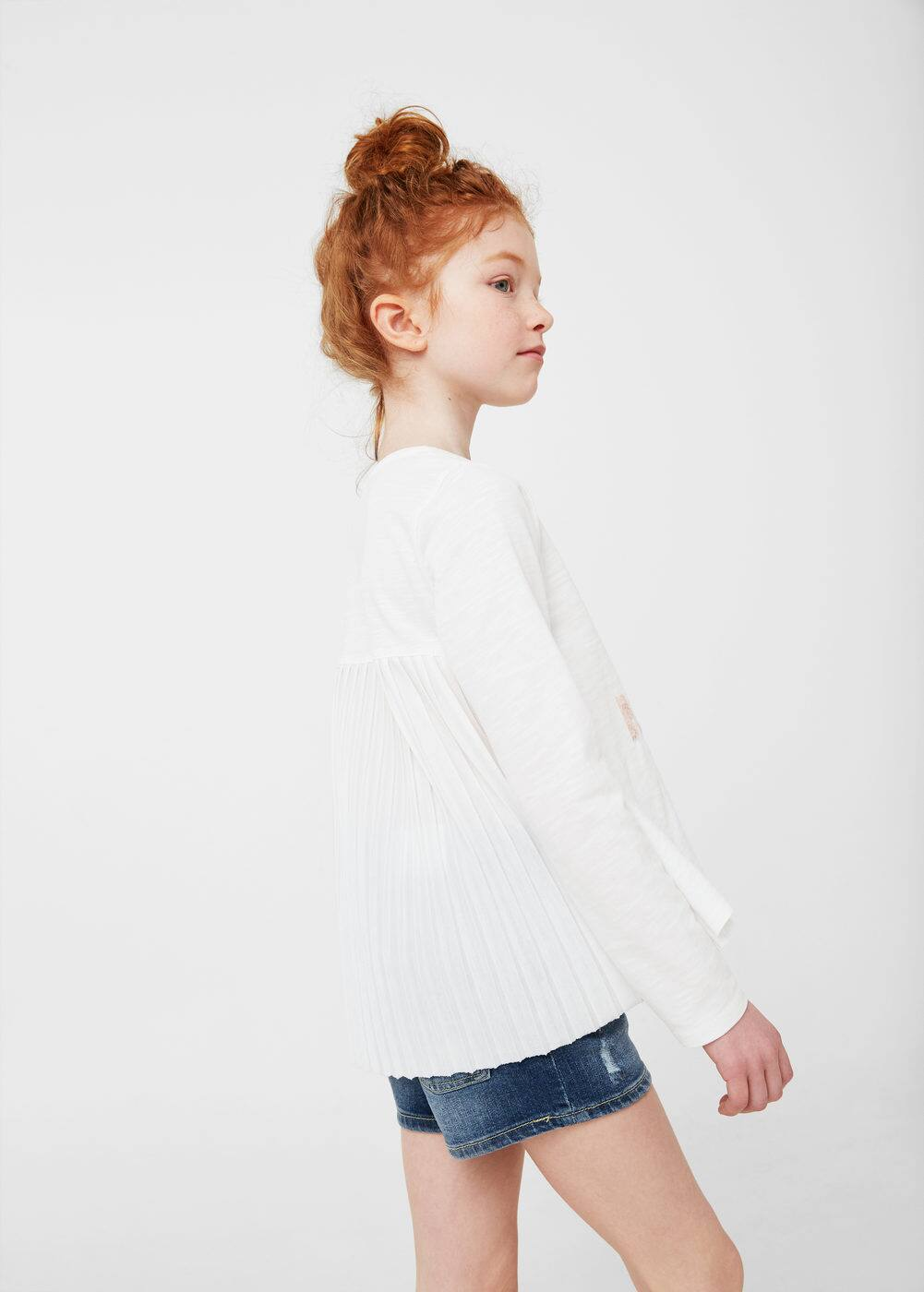 Pleated sequins t-shirt | MANGO