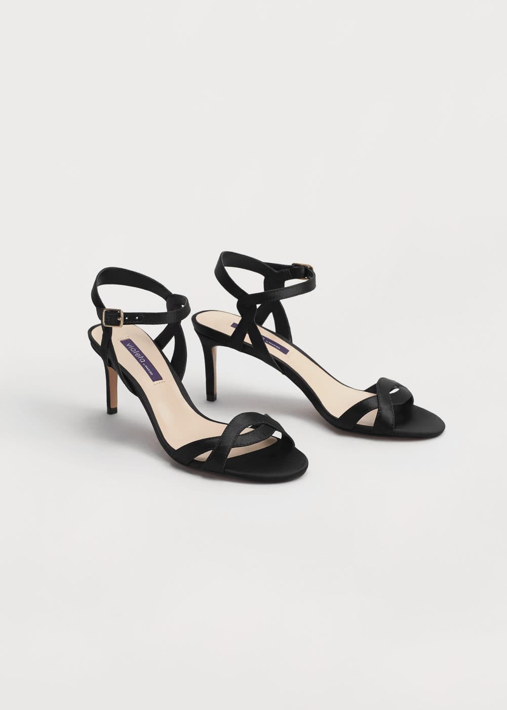Satined ankle-cuff sandals | VIOLETA BY MANGO
