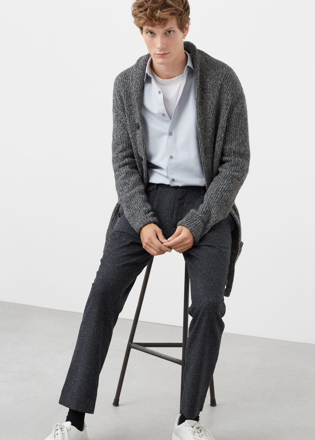 Flecked wool-blend trousers | MANGO MAN