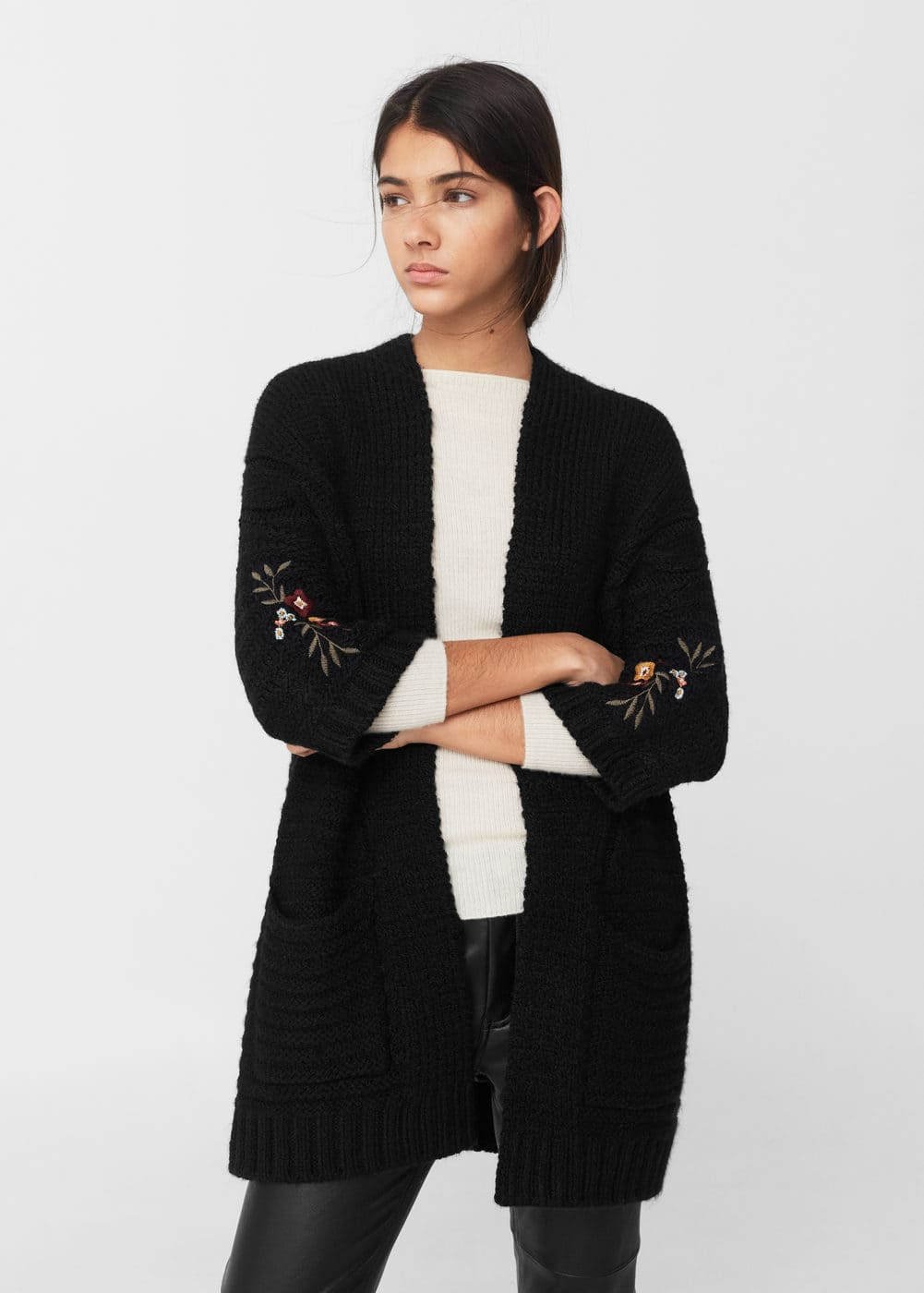 Embroidered panel cardigan | MANGO