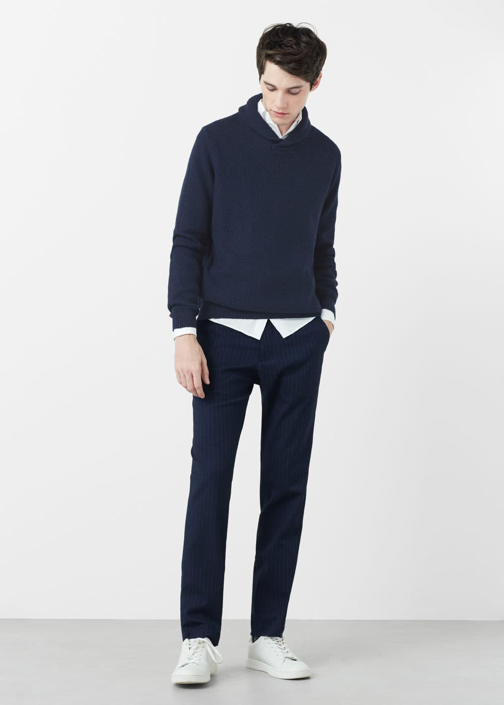 Cotton wool-blend sweater | MANGO MAN