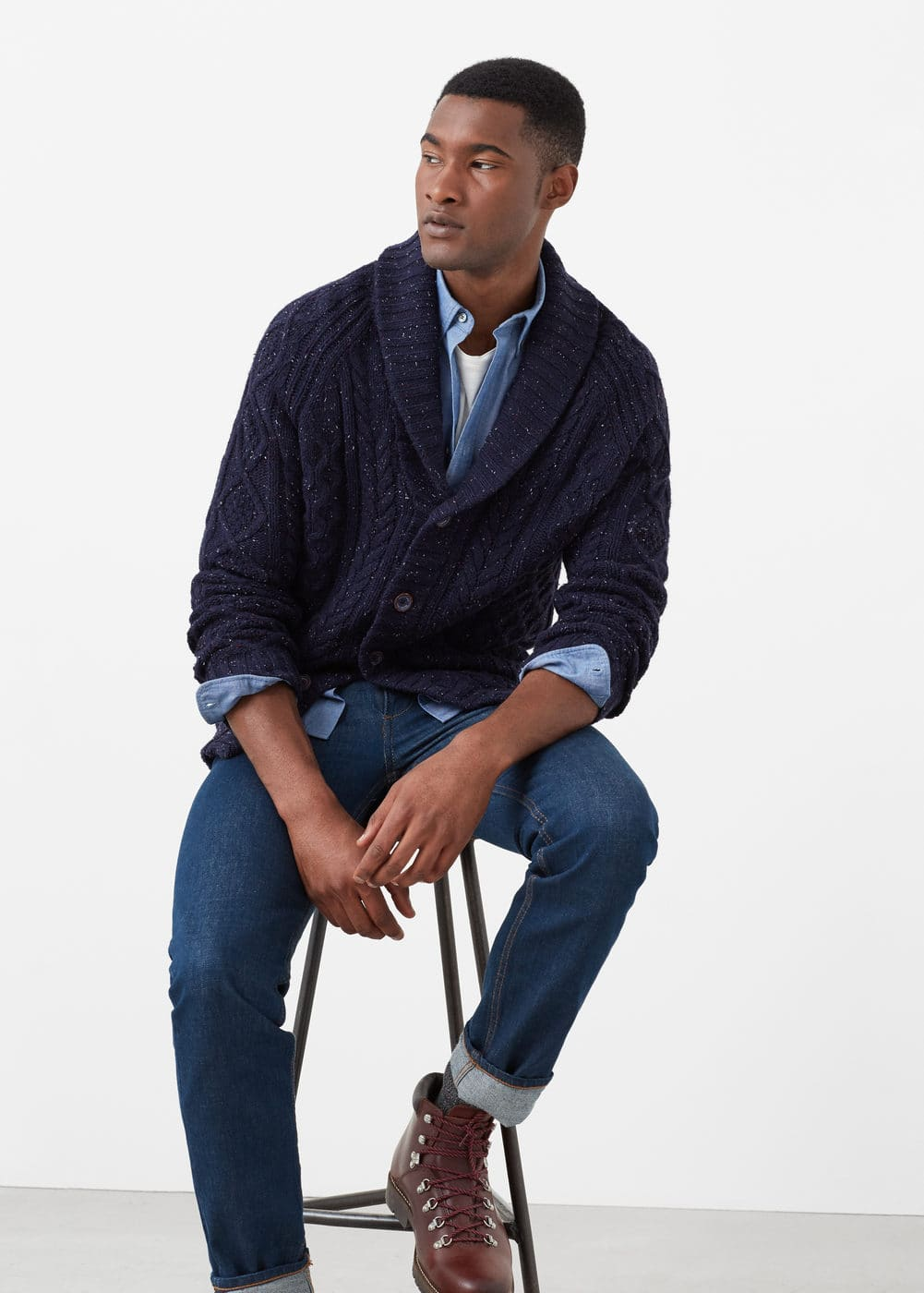 Cotton wool-blend cardigan | MANGO MAN