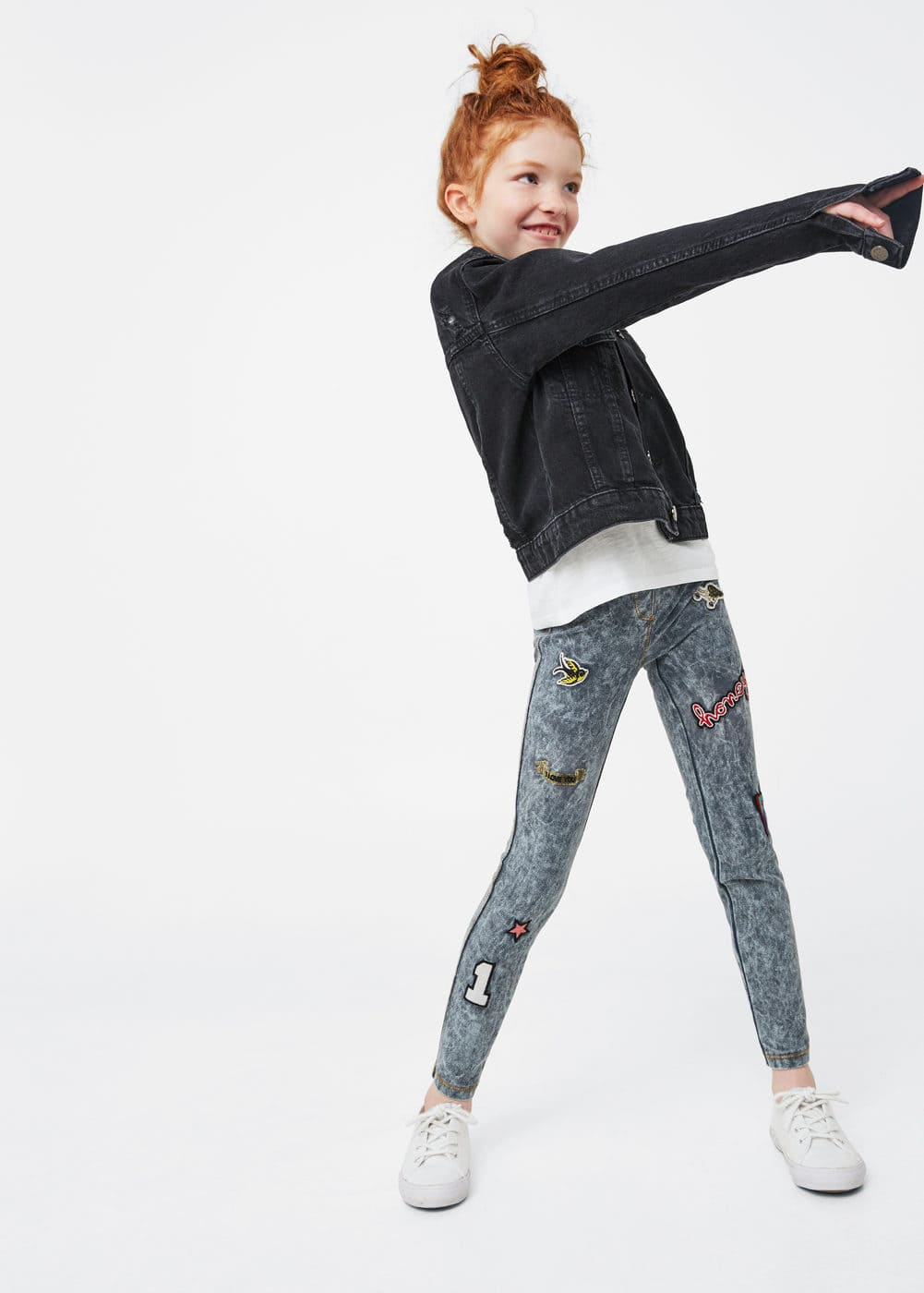 Patch denim leggings | MANGO KIDS