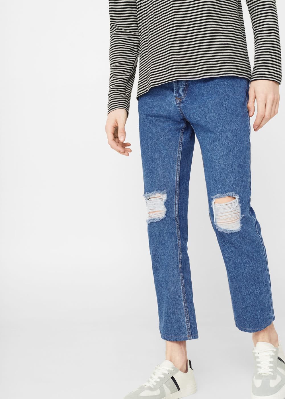 Harvey straight-fit crop jeans | MANGO