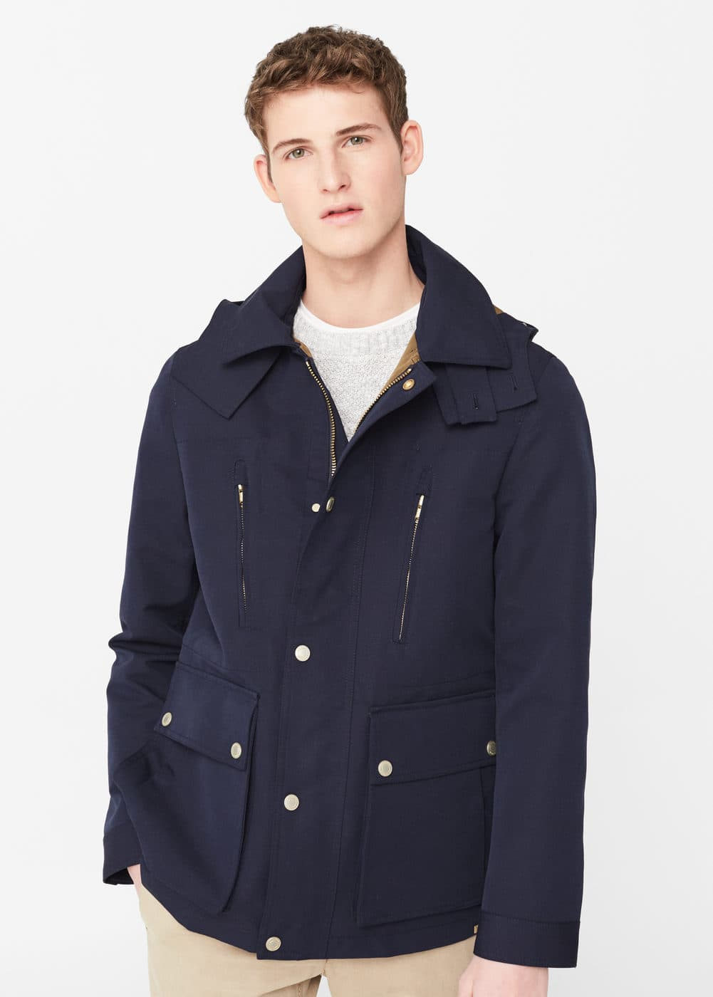 Detachable hood jacket | MANGO MAN