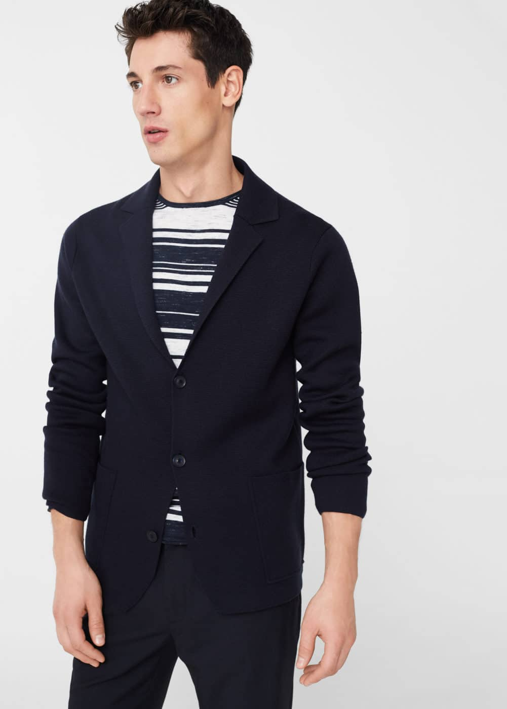 Pocket wool-blend cardigan | MANGO MAN