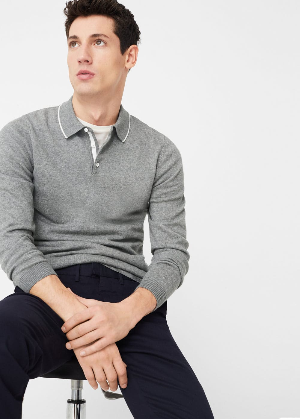 Long sleeves cotton polo | MANGO MAN