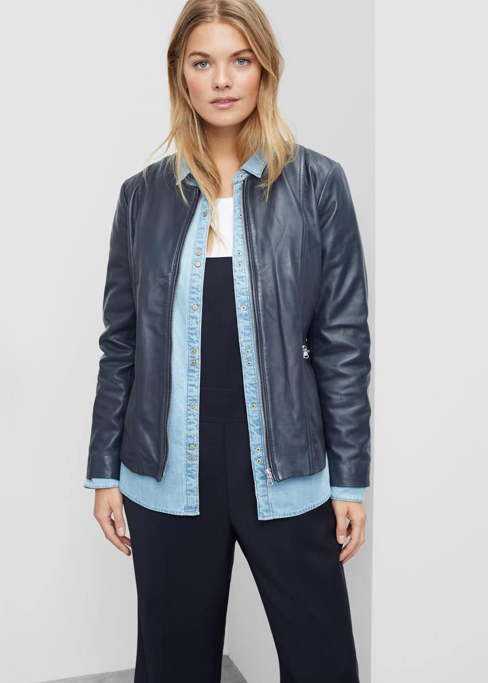Zip leather jacket | VIOLETA BY MNG