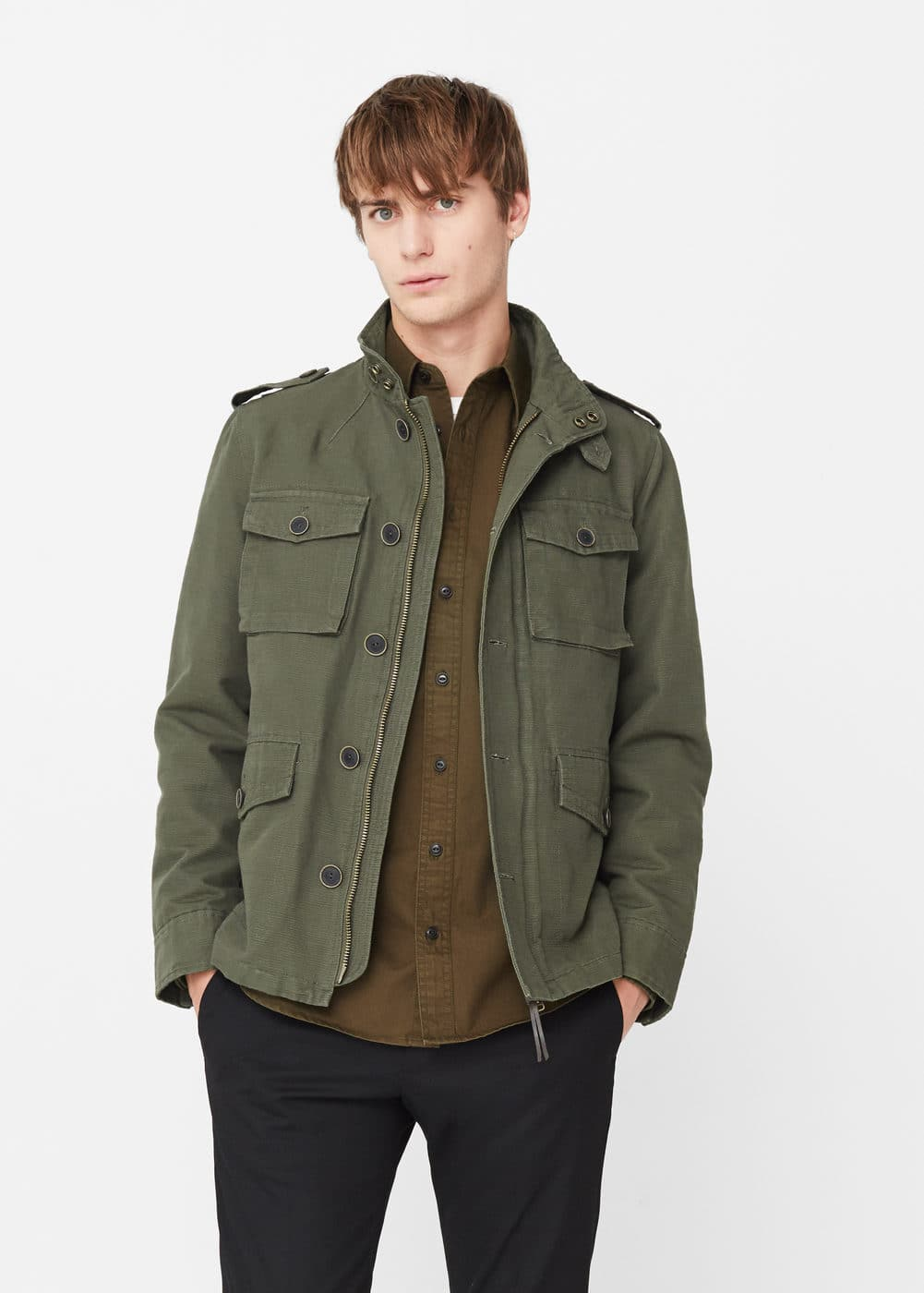 Textured cotton field jacket | MANGO MAN