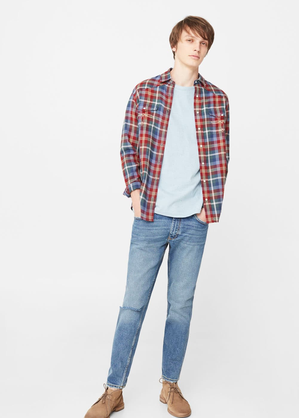 Slim-fit chest-pocket plaid shirt | MANGO MAN