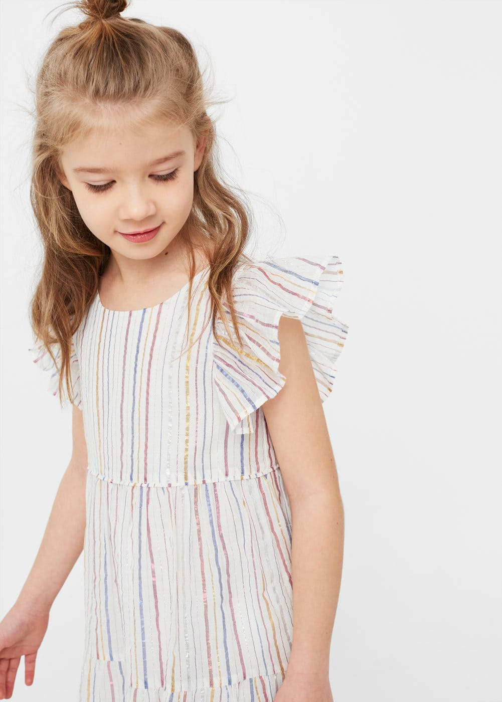 Metallic striped dress | MANGO KIDS