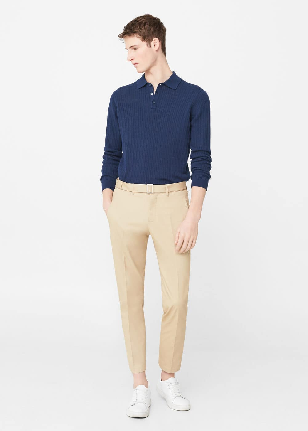 Cable-knit cotton polo shirt | MANGO MAN