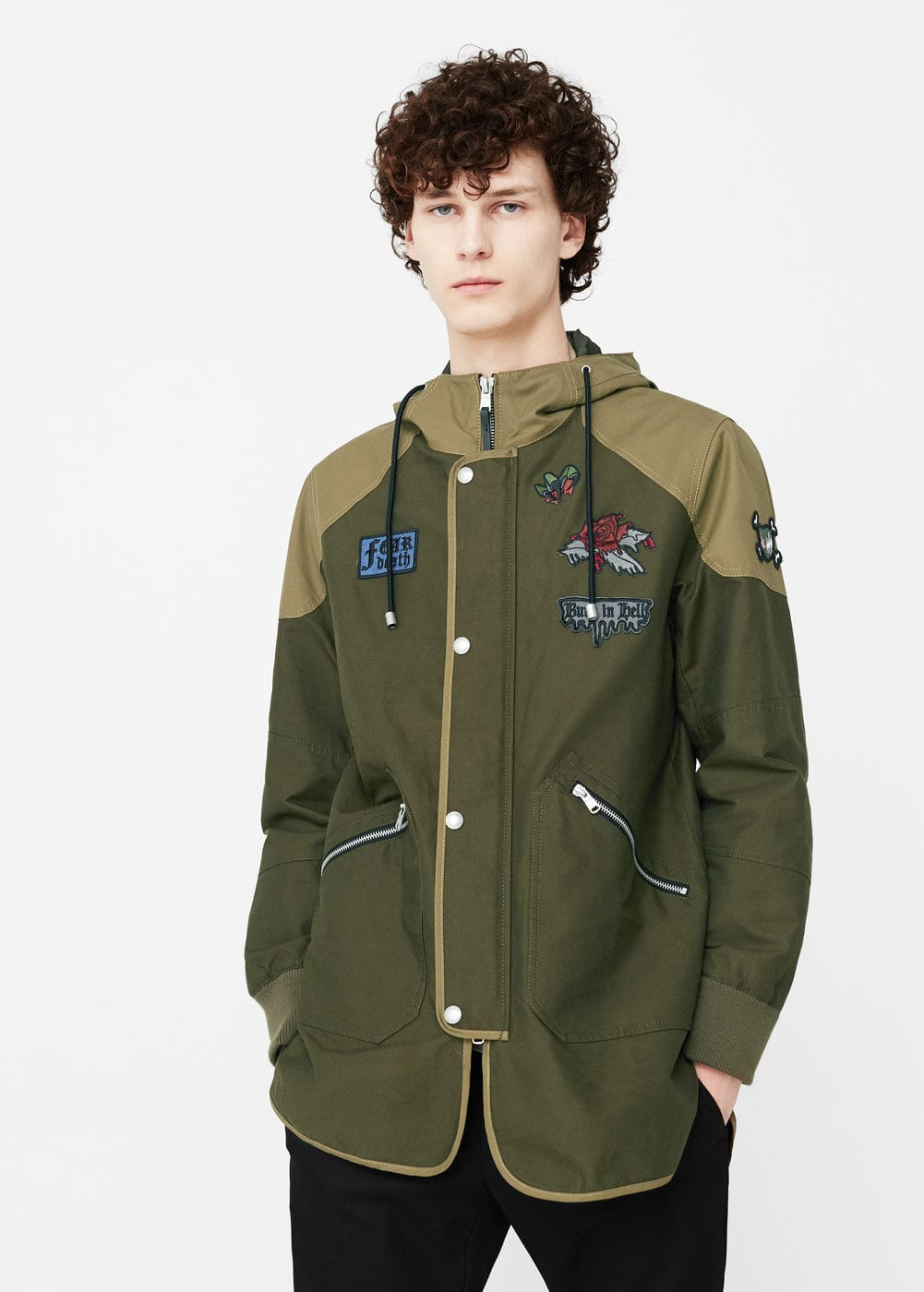 Patch cotton nylon-blend parka | MANGO