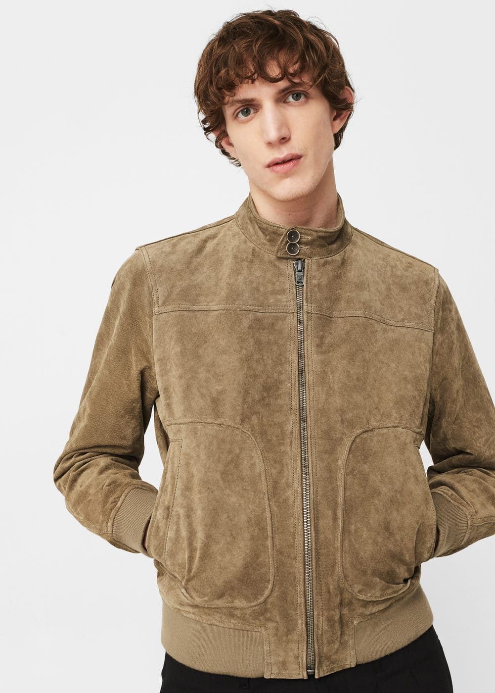 Flap-pocket suede jacket | MANGO