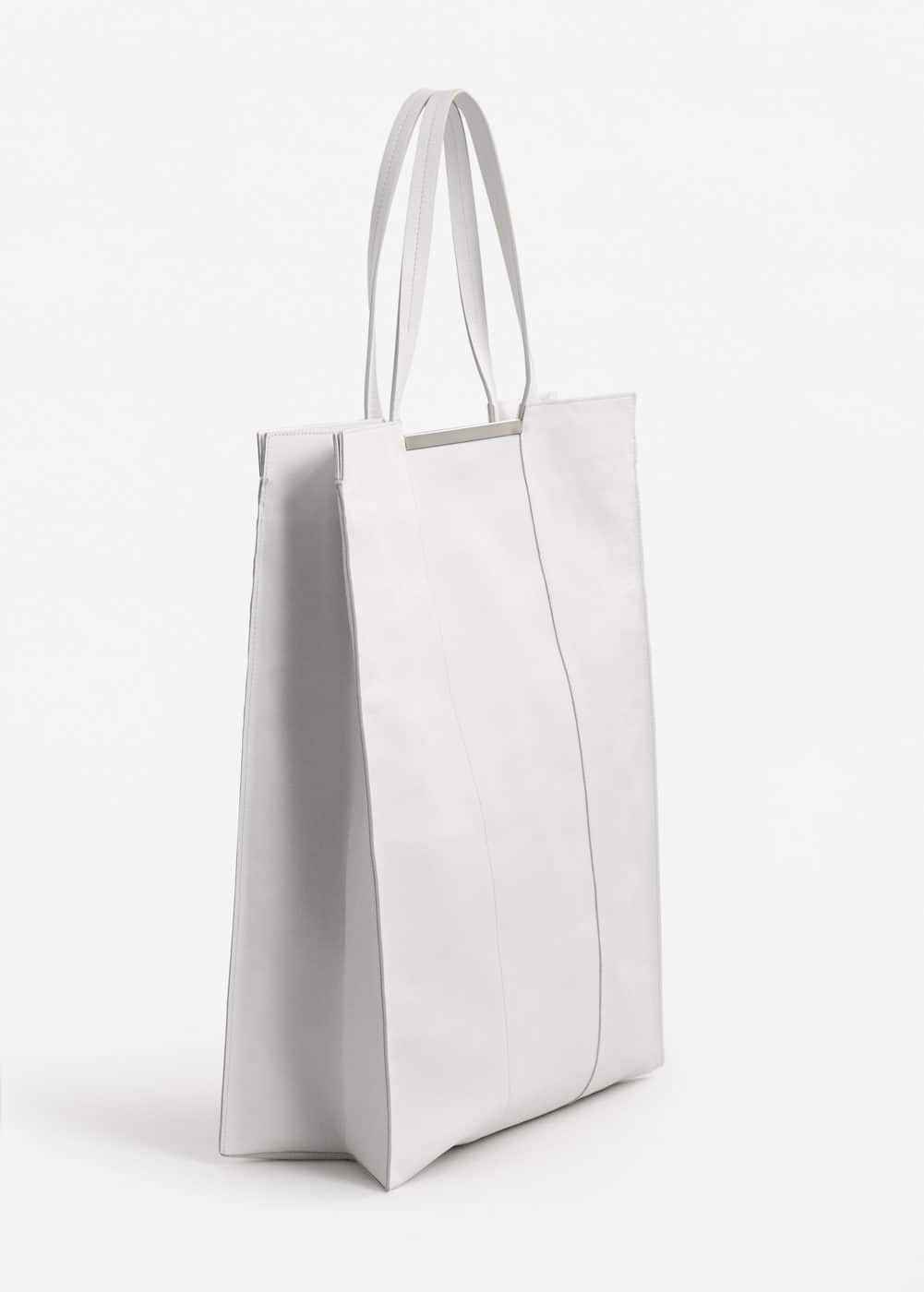Xxl leather shopper bag | MANGO
