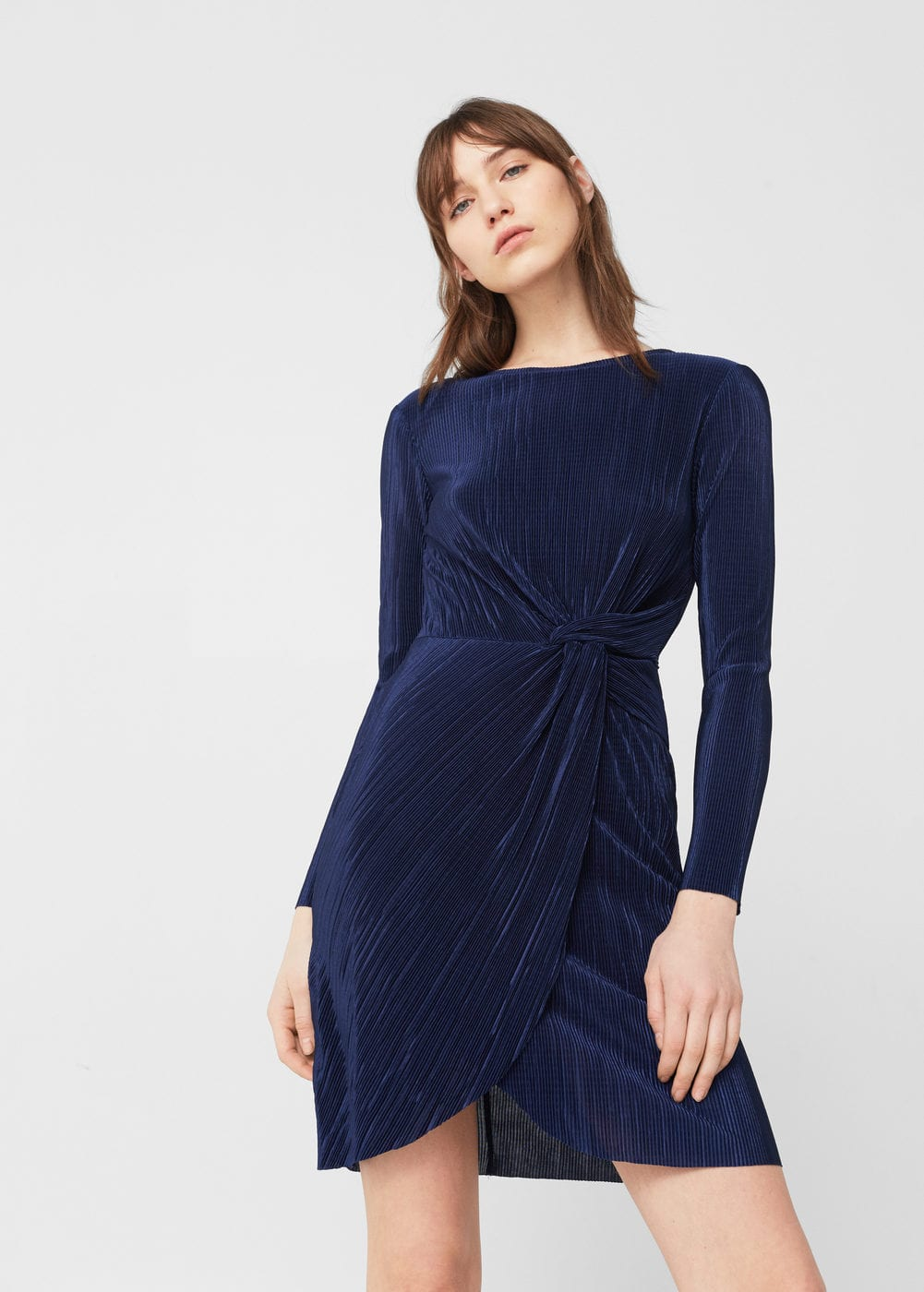 Knot pleated dress | MANGO