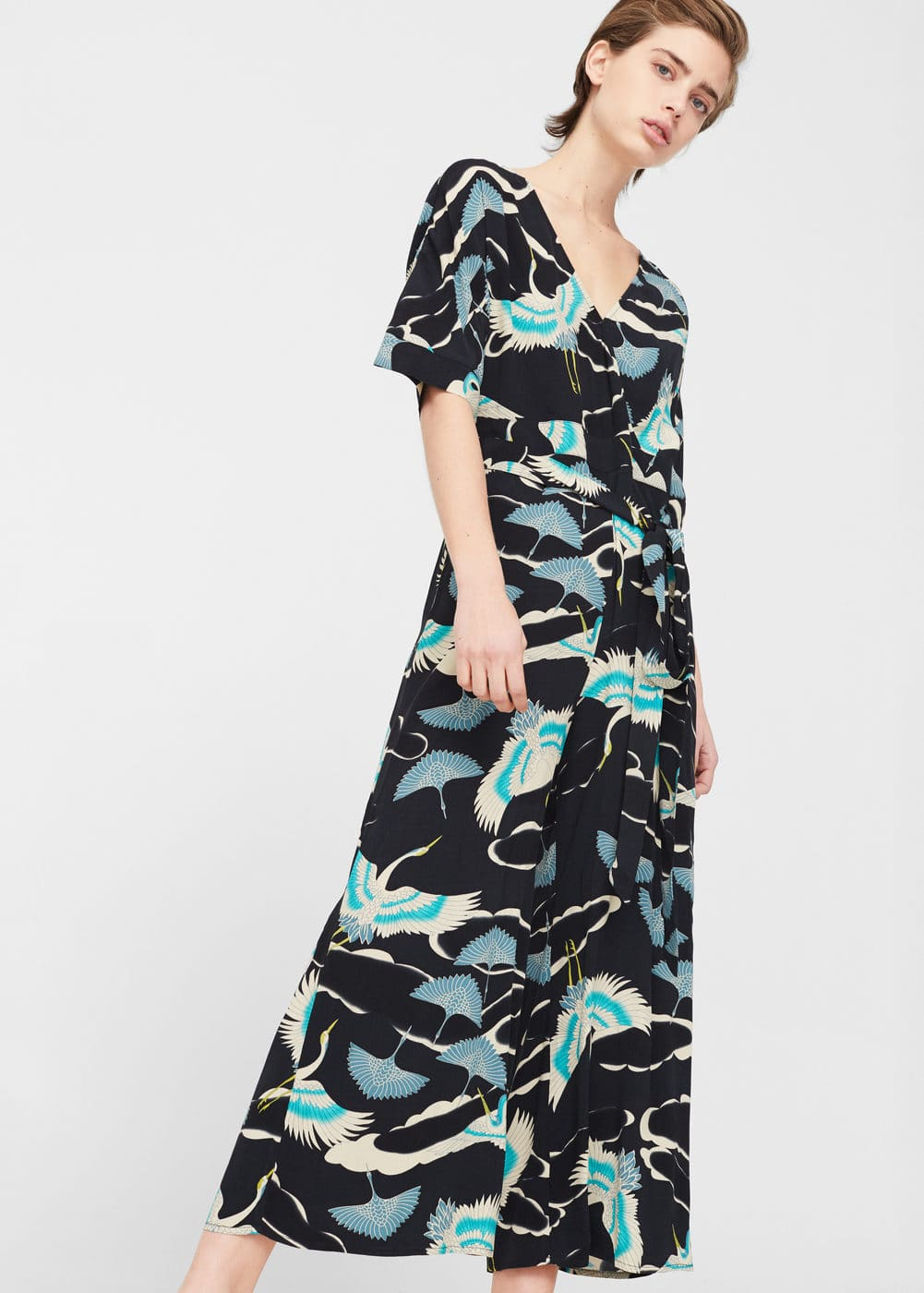 Printed wrap jumpsuit | MANGO
