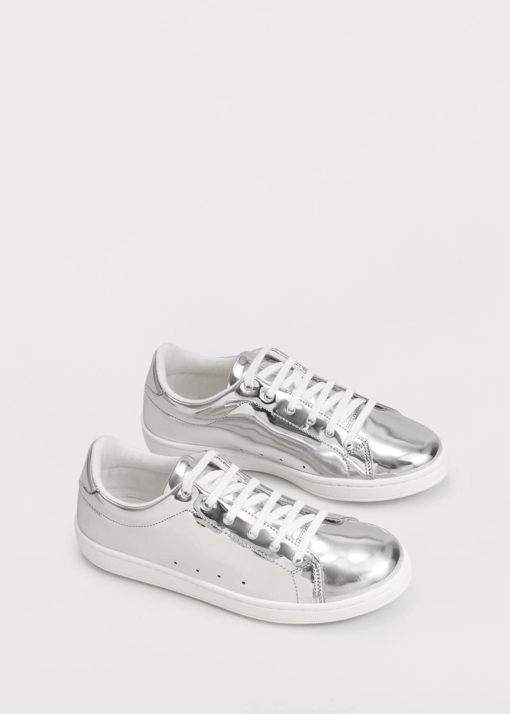 Metallic lace-up sneakers | MANGO