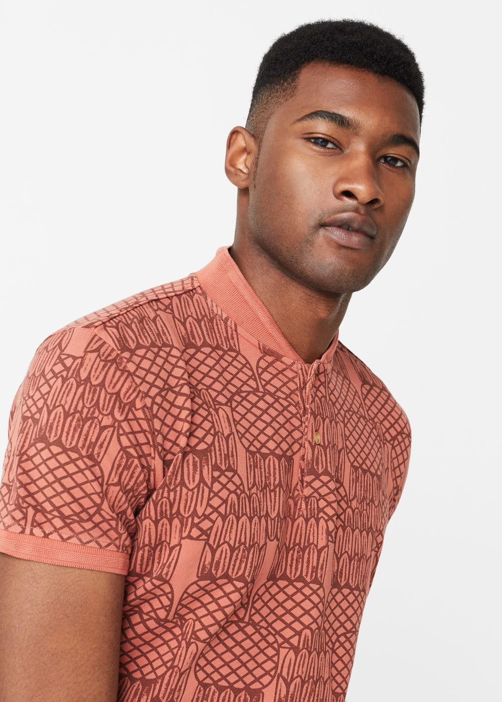 Printed cotton polo shirt | MANGO MAN