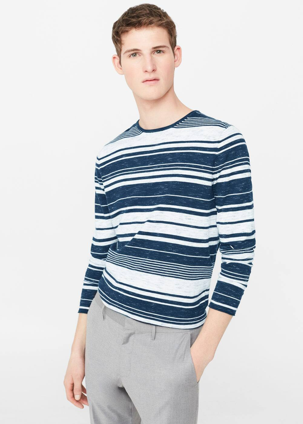 Striped cotton-blend sweater | MANGO MAN