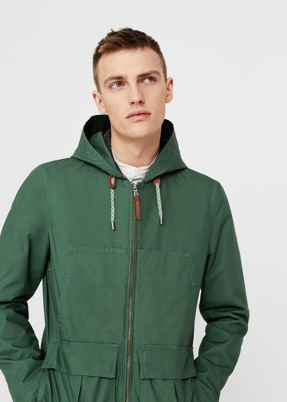 Cotton-blend hooded jacket | MANGO