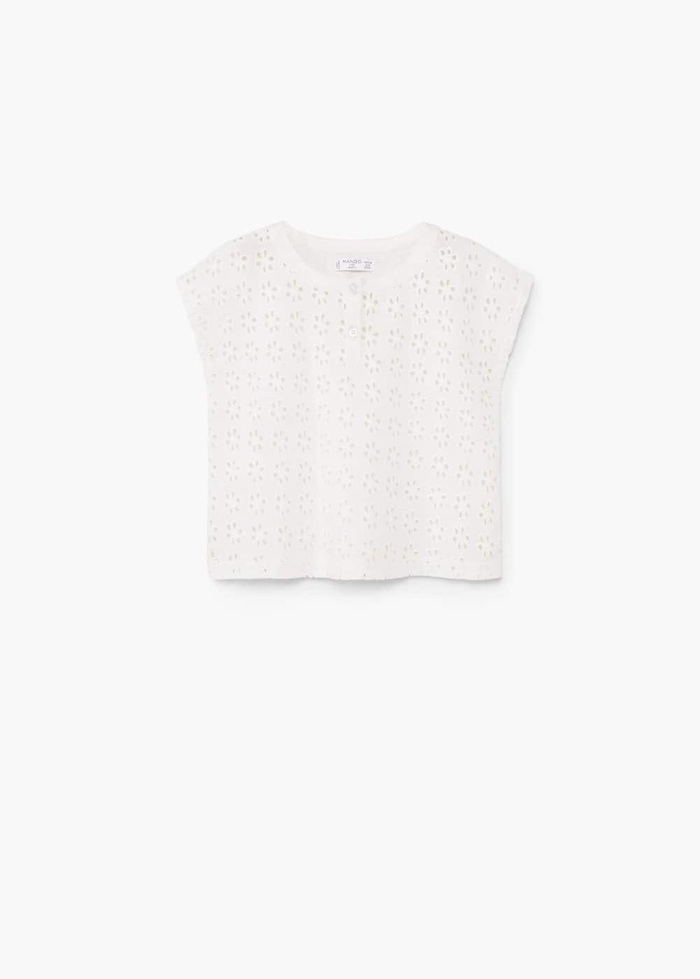 Openwork cotton-blend t-shirt | MANGO KIDS