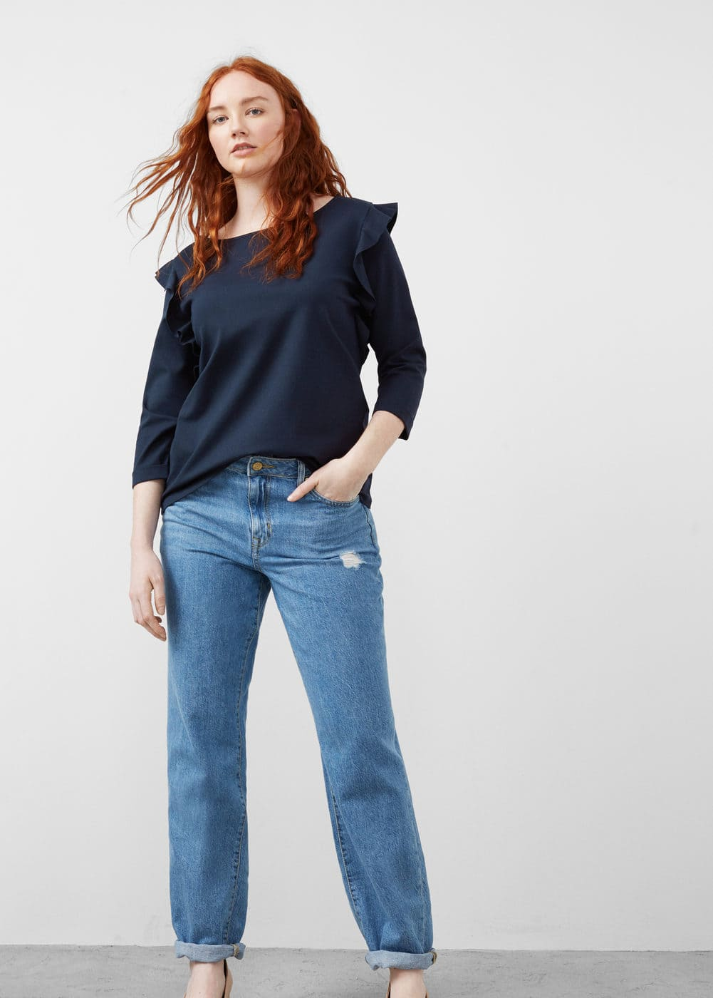 Ruffled detail t-shirt | VIOLETA BY MANGO