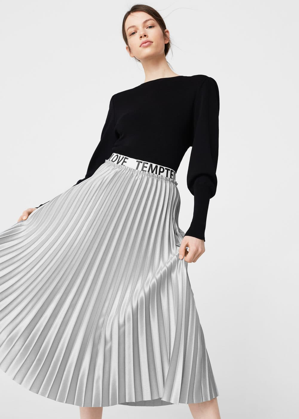 Metallic pleated skirt | MANGO