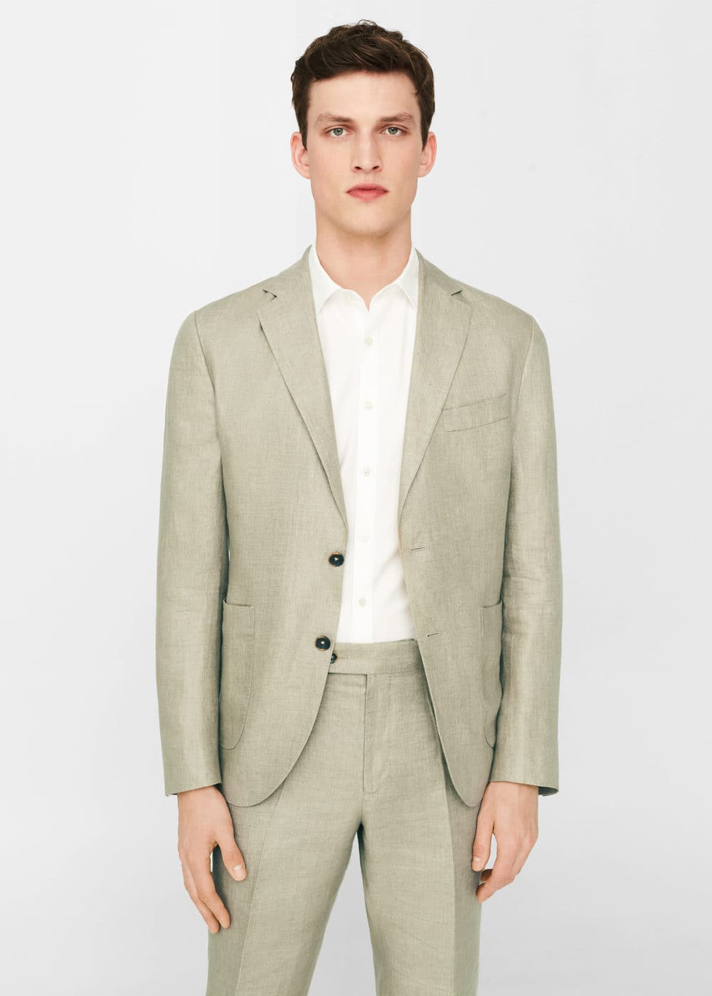 Slim-fit linen suit blazer | MANGO