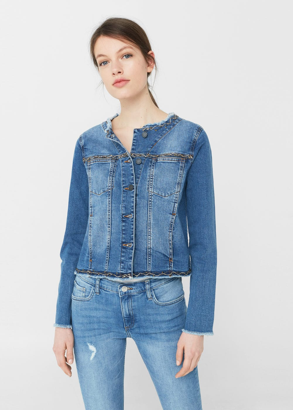 Beadwork denim jacket | MANGO