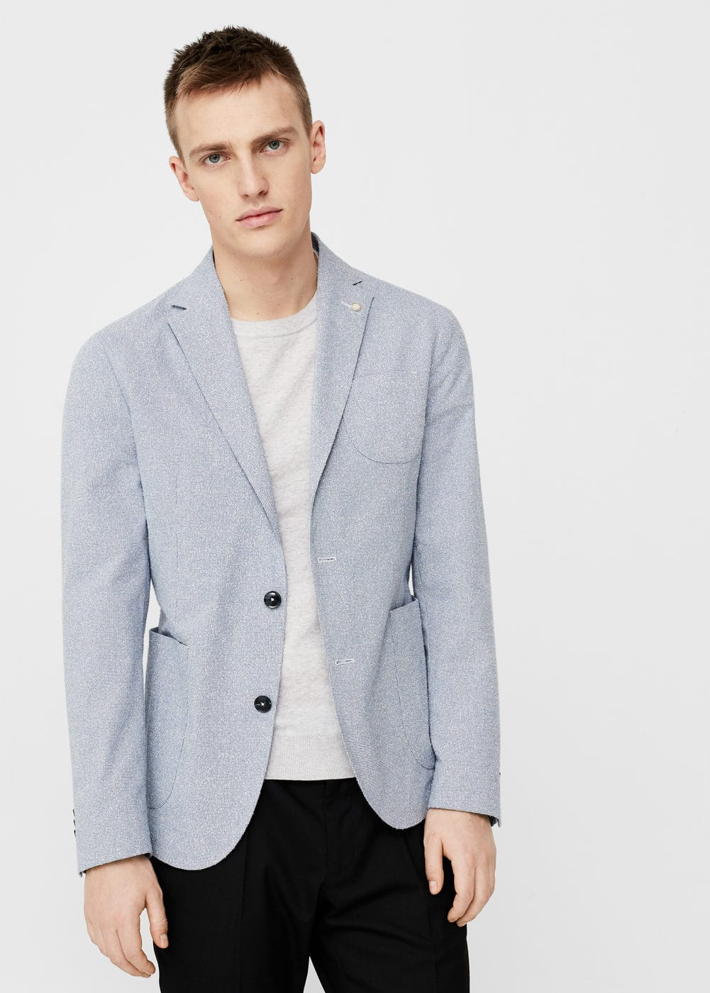 Slim-fit cotton-blend textured blazer | MANGO MAN
