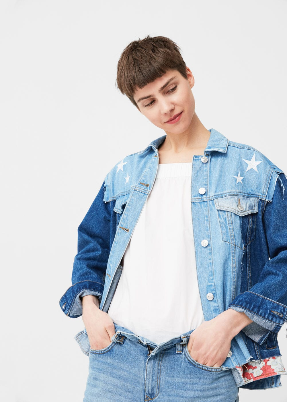 Embroidered denim jacket | MANGO
