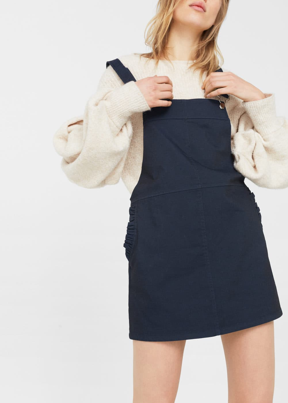Short cotton pinafore dress | MANGO
