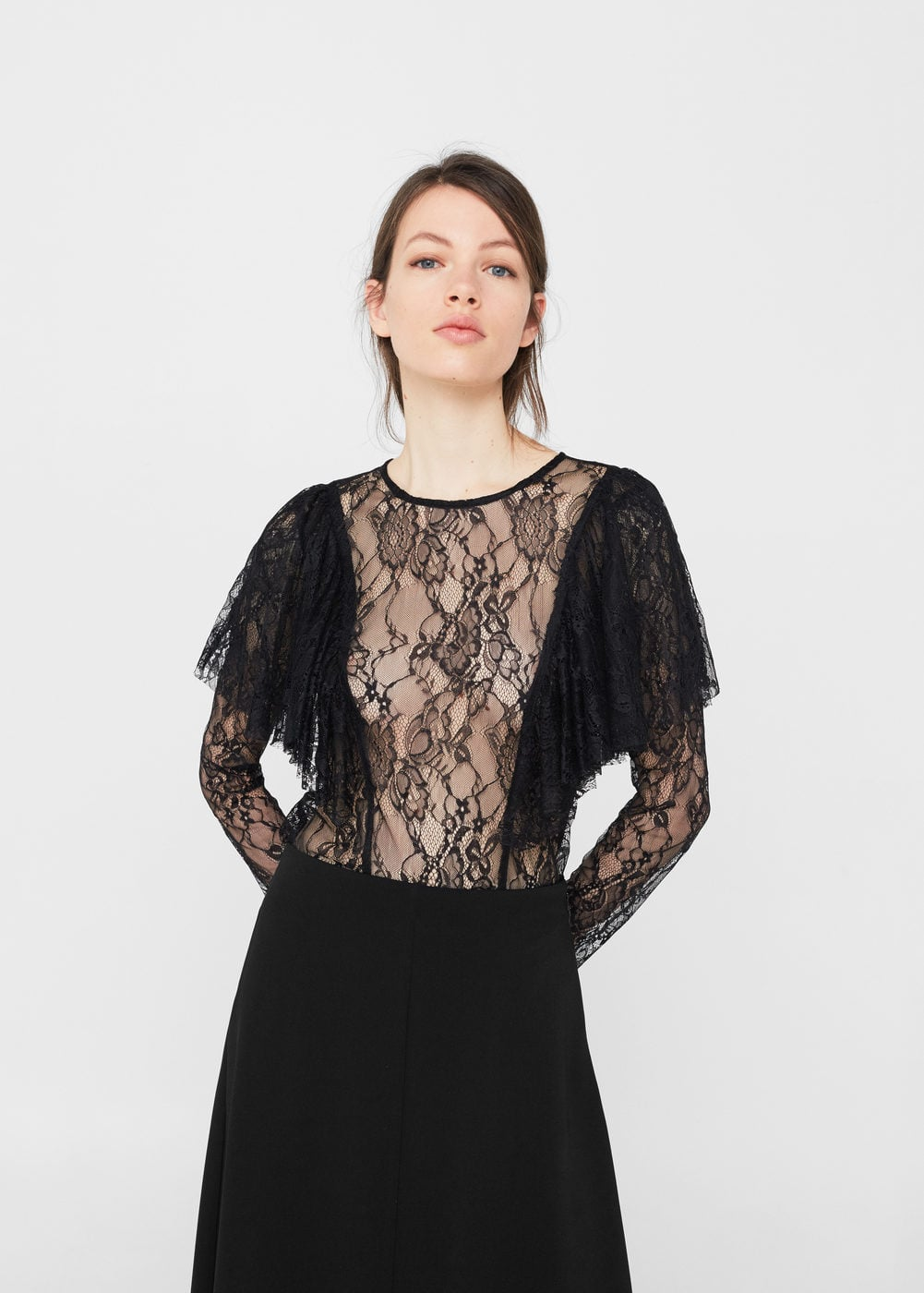 Lace textured blouse | MANGO